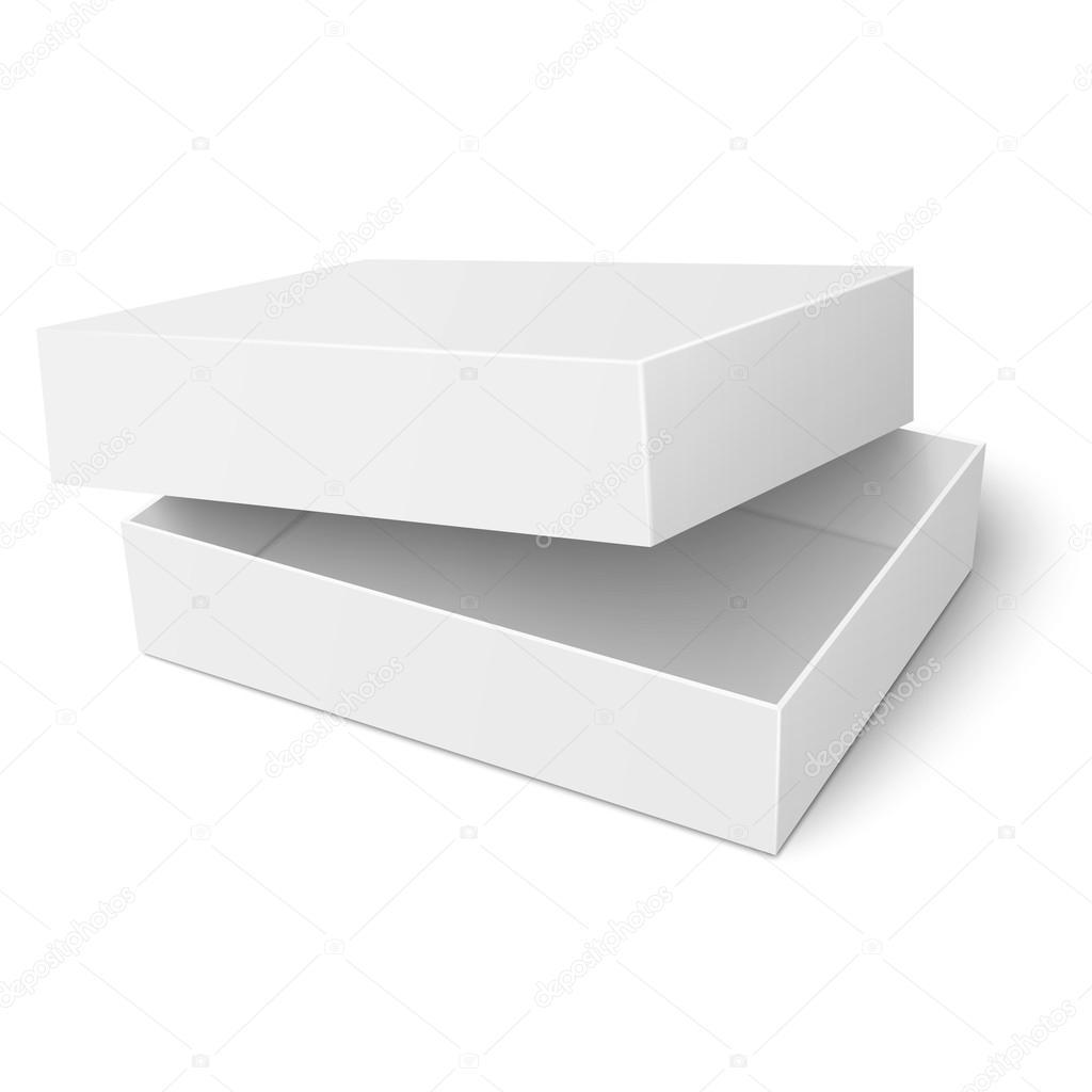 Plantilla de caja de cartón blanca con la tapa abierta — Vector de ...