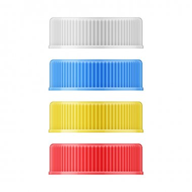 Colored plastic lids for bottle.