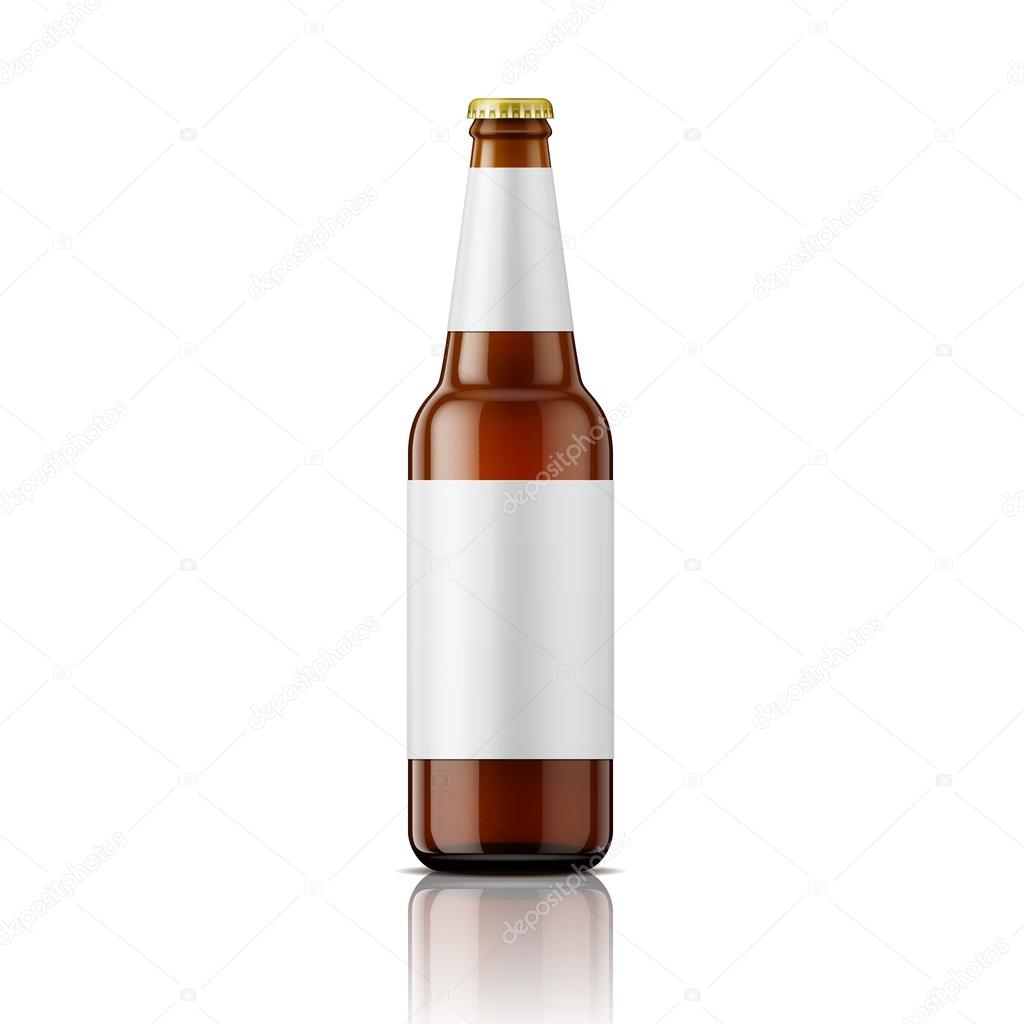Brown Beer Bottle With Labels Template Stock Vector Gruffi - Beer bottle label template