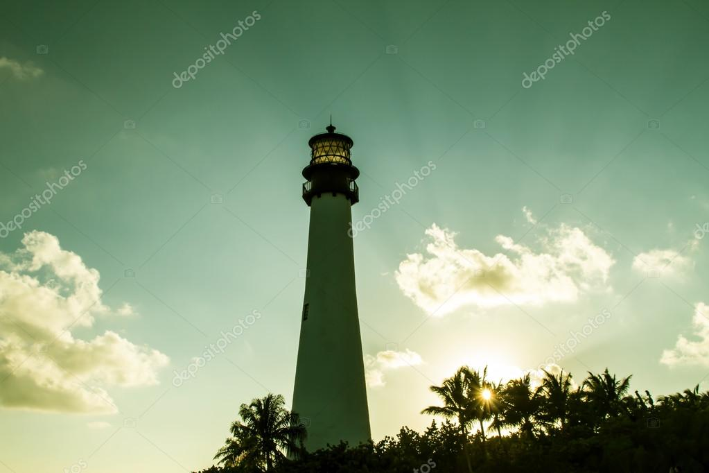 Lighthouse on sunset at the Florida State Park, Key Biscayne