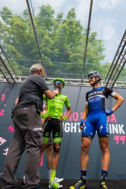 Pinerolo, Italy May 27, 2016; Moreno Moser, Cannondale Team, with Trentin to the podium signatures before the start of  the Stage