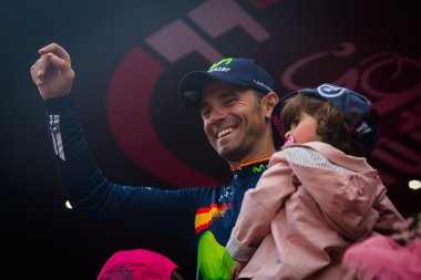 Turin, Italy May 29, 2016; Alejandro Valverde, Movistar  Team,   on the final podium of  the Tour of Italy 2016