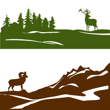 banner with the mountain landscape and forest, silhouette