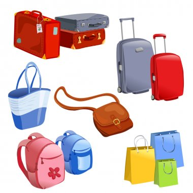 set of luggage, suitcases, backpacks, packages