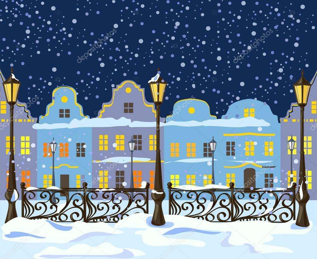 night winter city with lanterns