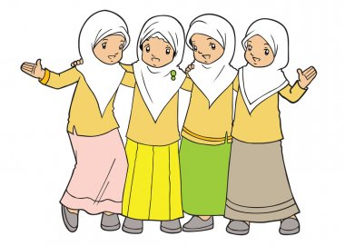 Group of Indonesian muslim girls hanging out together clip art vector