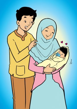 Indonesian muslim family and baby