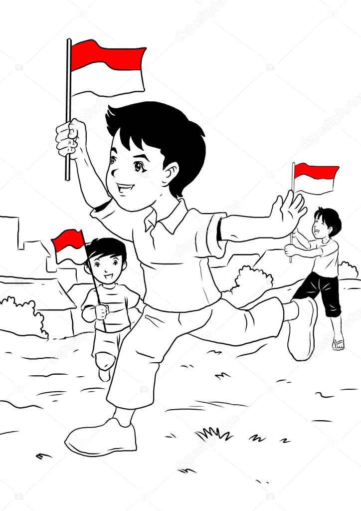Indonesia celebra día de la independencia a los niños — Foto de ...