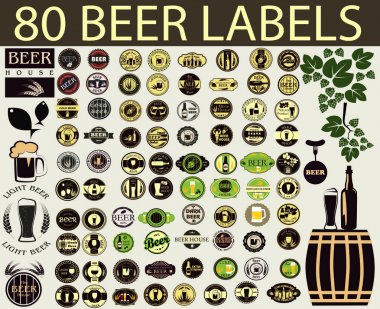 Beer label. Alcohol labels set.