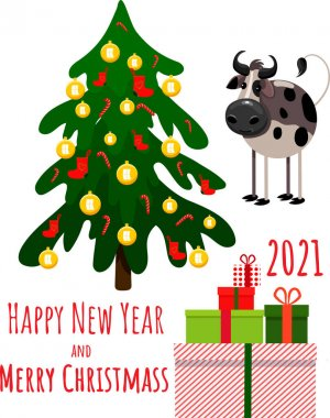 Merry Christmas and New year set. Cute cartoon Bull with xmas pine tree and gifts. icon