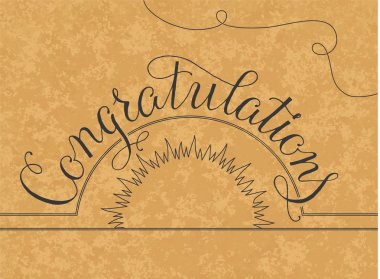 Congratulations lettering illustration hand written design on a gold background
