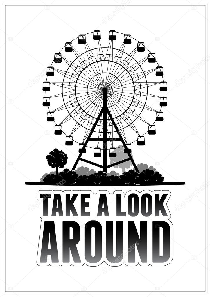 Silhouette of a ferris wheel at the park. Typography card vector illustration