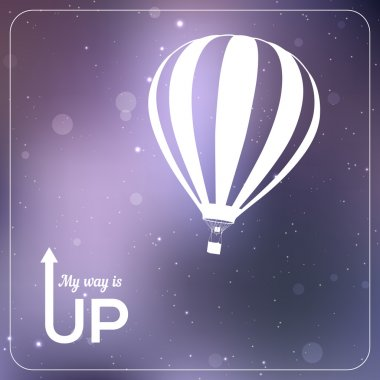 My way is UP hot air balloon vector illustration. White silhouette in vibrant sparkling violet background. Eps 10 clip art vector