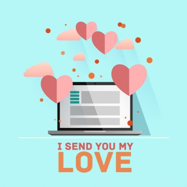 Valentines day illustration. Receiving or sending love emails for valentines day, long distance relationship. Flat IT design