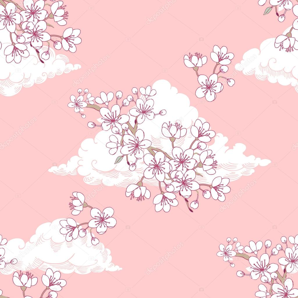 Seamless pattern  with sakura and clouds