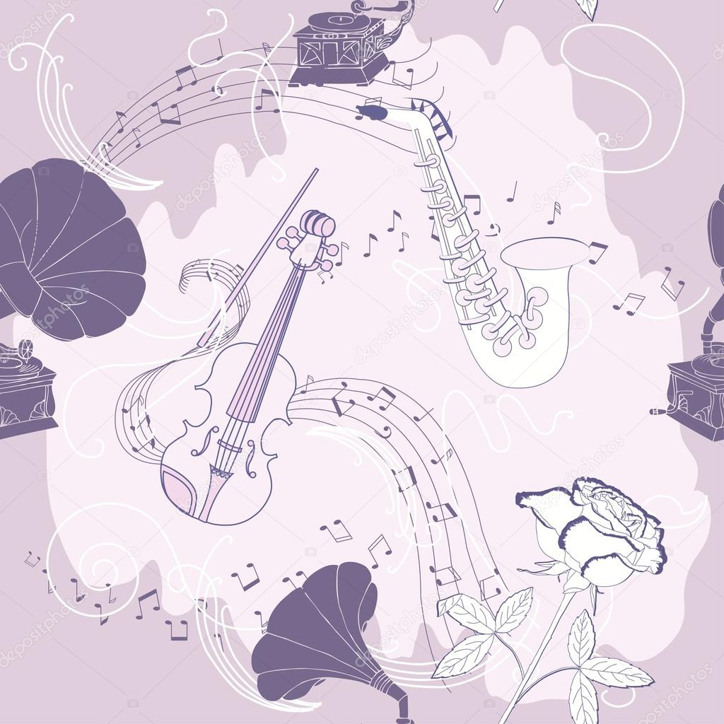 Seamless pattern with music instruments flowers and gramophone hand drawn sketches old record player vector illustration vector by