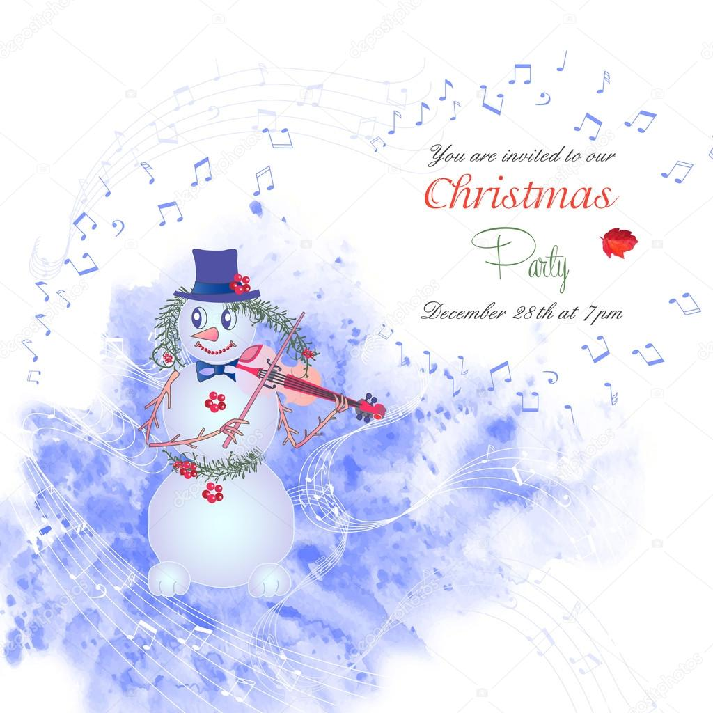 Christmas invitation with snowman-01