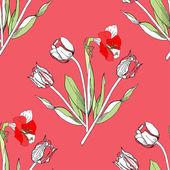 Nahtlose Muster mit Tulpen Blumen