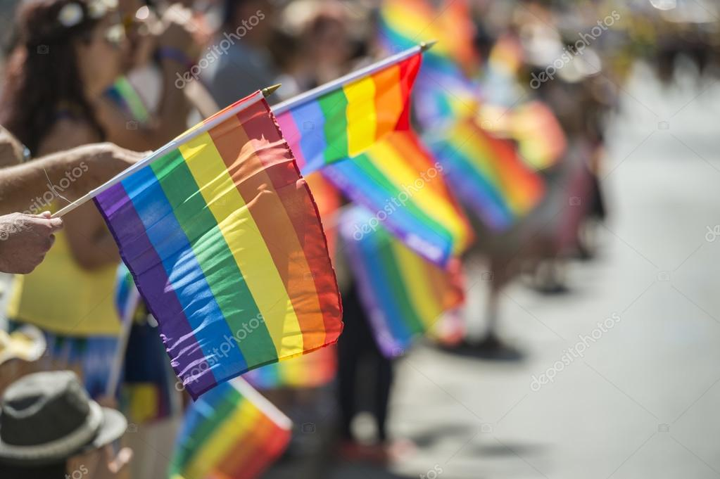 GayPride spectators carrying Rainbow gay flags