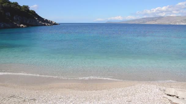 video of blue clear sea water, Albania Sarande