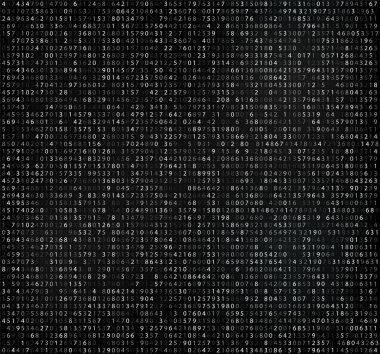 Black matrix background with white digits. Computer code for encrypting and encoding, data code, falling numbers.