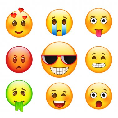 Facial expressions emotions, sadness, joy, sickness, love, facial expression with glasses. Yellow  cartoon sign facial expression.