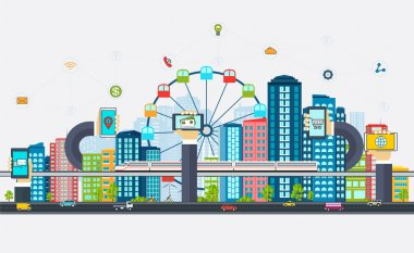 Smart City with business signs. Modern design city of the future technologies.