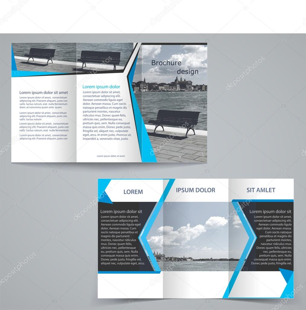 Tri-fold business brochure template, two-sided template design in ...