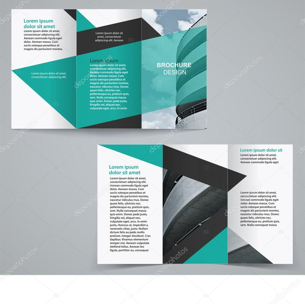 tri fold business brochure template two sided template design in green color
