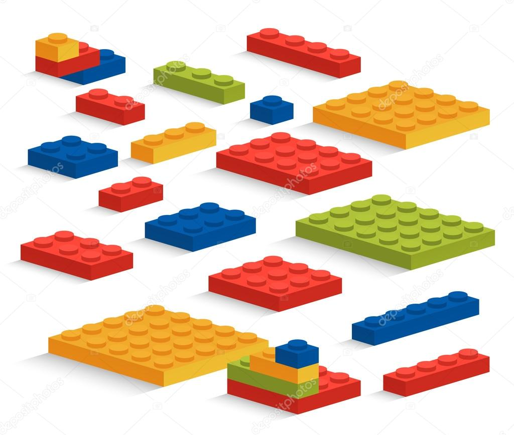 Set of plastic Lego pieces or constructor — Stock Vector ...