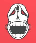 Lebka na červeném pozadí