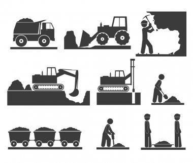 Сonstruction earthworks icons mining and quarrying