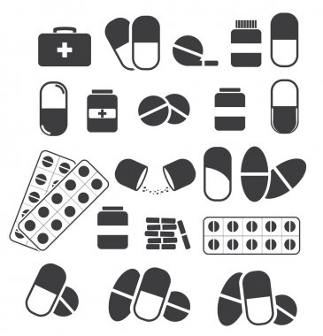 Medicines and tablets, pills capsules medical. Vector set of bla