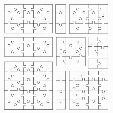 Jigsaw Puzzle Templates on White Background. Set of Puzzle  Piec