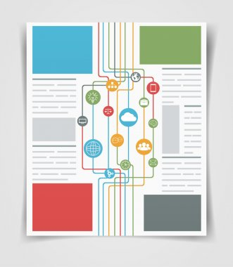 Layout business flyer or brochure network connections. Web templ