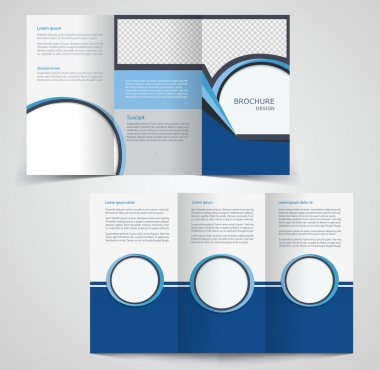 Tri-fold business brochure template, two-sided template design,  mock-up cover in blue  colors