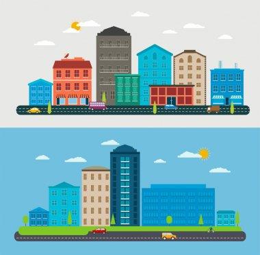Flat design urban landscape, composition city scene , parks, traffic cars