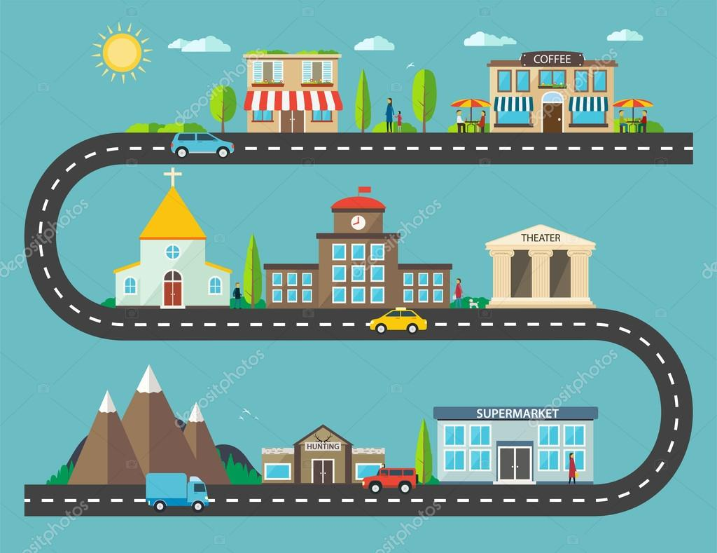 Urban landscape in flat design. City life with modern icons of u