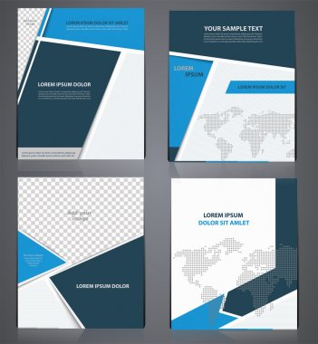 Set of blue business brochures  in one style with pixel world ma