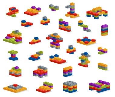 Set of different plastic pieces constructor, various constructio