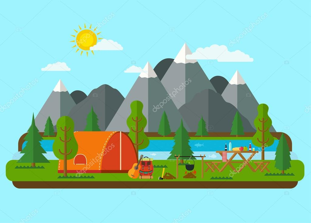 Summer landscapes. Picnic barbecue with tent in mountains near a