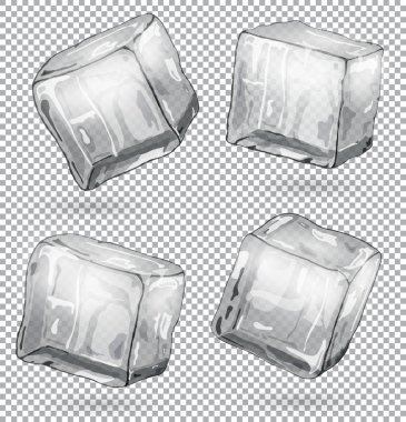 Transparent ice cubes, set of 4 pieces