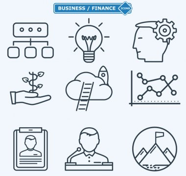 Line icons, business people in a work process,  company seminar