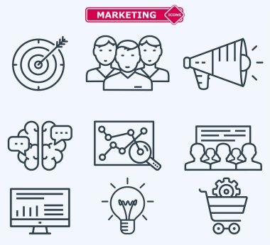 Marketing flat  line icons. Training, development, planning, goa