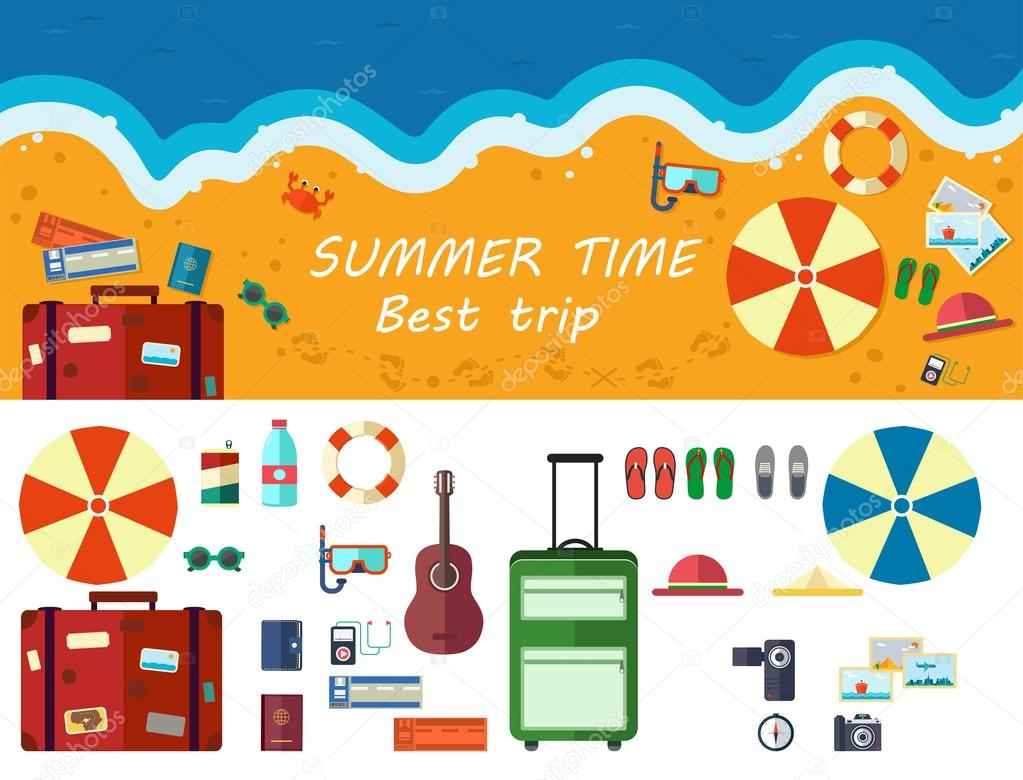 Summer time traveling, beach rest, template with beach summer ac