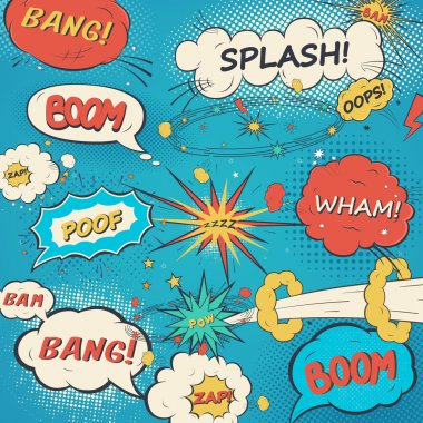 Pattern comic speech bubbles in pop art style