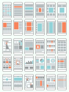 Mobile phone flowcharts, wireframes, set of interface layouts fo