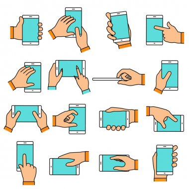 Hand gesture on the touch screen. Hands holding smartphone or ot