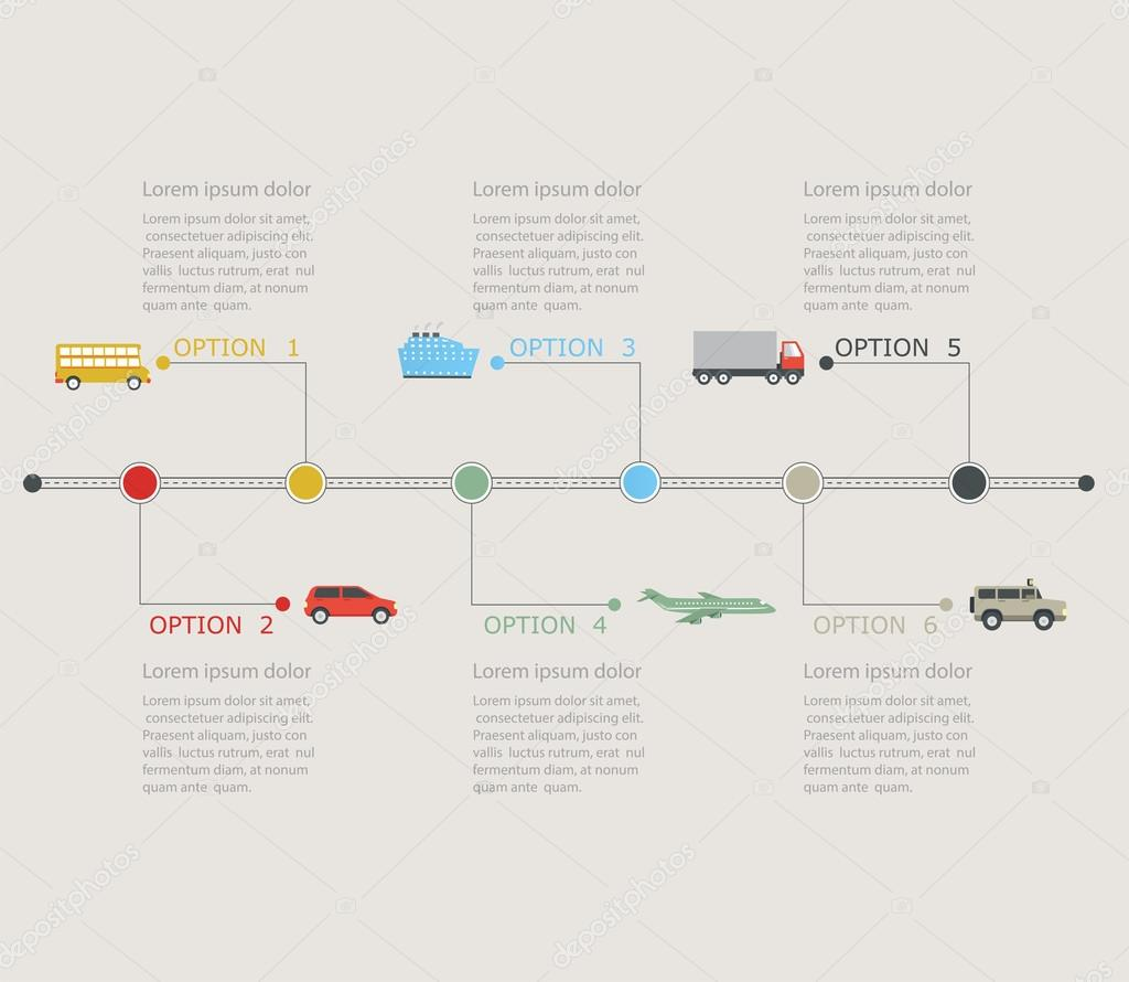 Timeline infographic with transportation icons. Stepwise ...