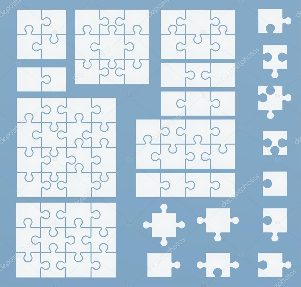 Parts of puzzles on blue template. Set of puzzle 2, 3, 4, 6, 8 ...